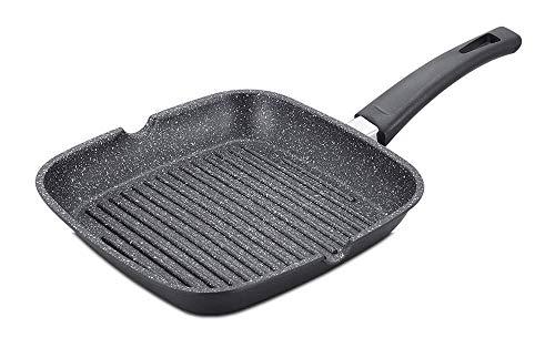 B-black® Bistecchiera cm 24 Rivestimento in Marmo Pietra Antiaderente Cucina Senza Grassi