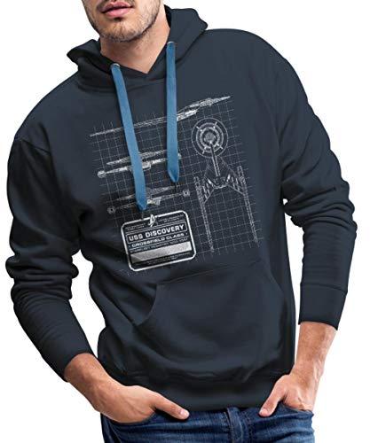 Star Trek Discovery Prototype Épure Sweat-Shirt à Capuche Premium pour Hommes, XXL, Marine