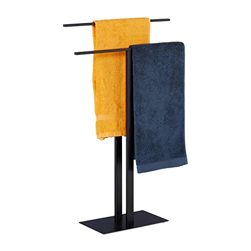 Relaxdays Handtuchständer, 2 Stangen, freistehend, Badezimmer, Eisen, Doppelhandtuchhalter HBT: 82 x 50 x 19 cm, schwarz, 1 Stück