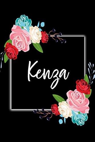Kenza: Carnet de notes 15,24 x 22,86 cm   Prénom personnalisé Kenza  Cadeau d'anniversaire ,noël , action de grâces pour femme, maman, sœur, copine, ... : floral   110 pages lignée, Petit Format