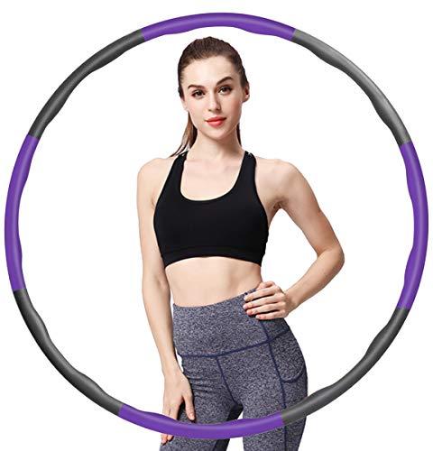 Hula Fitness - Aro circular con peso, tamaño ajustable para adultos y niños, con 8 secciones de olas, desmontable, para ejercicio, gimnasio, entrenamiento, color morado y gris