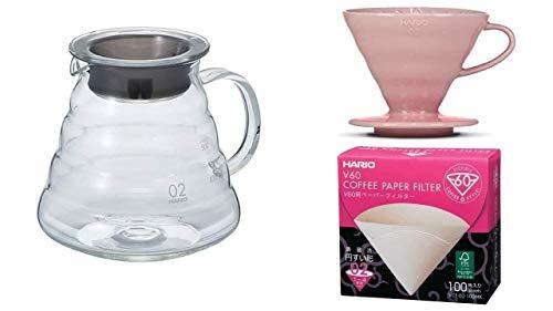 HARIO Kaffee Set Kaffekanne mit passendem Kaffefilter pink V60, Größe 2 und Filterpapier XGS-60TB + VDC-02-PPR-BB + VCF-02-100W