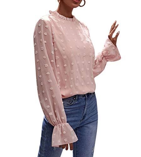 ORANDESIGNE Damen Elegant Chiffonbluse Stehkragen Einfarbig Langarmshirts Blusen Rüschen OL Business Oberteile mit Trompetenärmeln 02-Rosa L