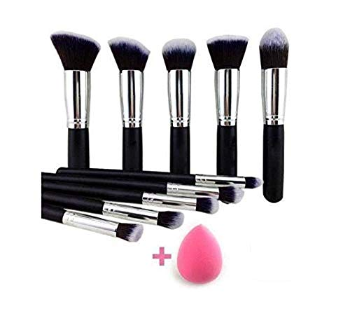Women's & Girl's Makeup Brushes - Colour : Black - Set of 10 - with 1 Pink Blender