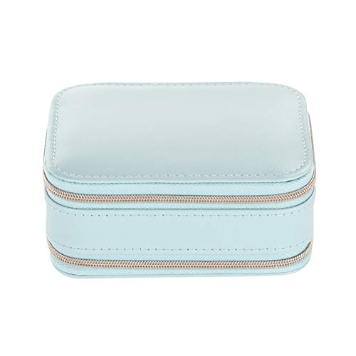 Kalaokei Caja de joyería portátil con cremallera creativa portátil multifuncional con cremallera para joyas, aretes, anillos de almacenamiento, color azul claro