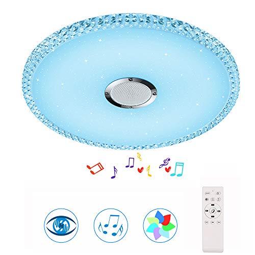HOREVO Lámpara de Techo Musical 24W RGB Plafon con Altavoz Bluetooth y Mando a Distancia, Ø38cm 2000 lúmenes, Luz ajustable para la habitación de los niños sala de estar (Certificación CE)