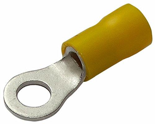 Aerzetix: 10 Kabelschuhe Elektroflachhülsen Auge Öse M5 Ø5,3mm 4-6mm2 isoliert gelb