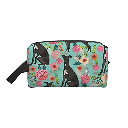 Bolsa de maquillaje Tela de flores de galgo italiano Mejores perros y flores Bolsa de viaje cosmética Bolsa de aseo grande Organizador de bolsa de maquillaje portátil