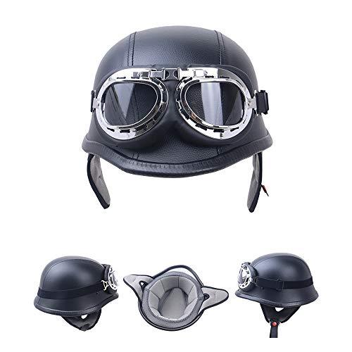Casco Moto Vintage Mezzo Casco Casco Protettivo Old Style con Occhiali protettivi Motocross Protettivo Specchietto Trasparente Vintage Wehrmacht Army-Style,XL