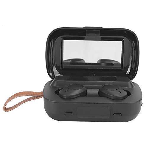 PUSOKEI Auriculares inalámbricos de 3 Pantallas, Auriculares Impermeables de Llamada con reducción de Ruido de Alta fidelidad con Espejo, Auriculares biauriculares Deportivos TWS Bluetooth(Negro)
