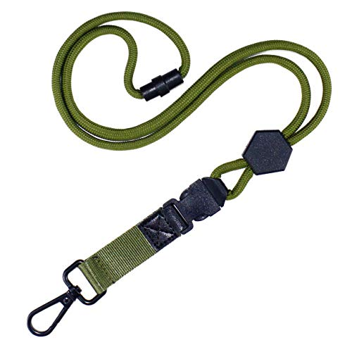 Durable Round Cord Lanyard with Metal Hook,Breakaway Buckle,Safety Breakaway for ID Card Holder in Office or Keys (Army Green)