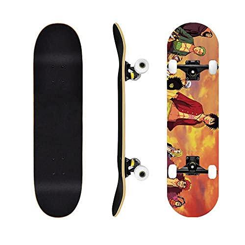 One Piece Luffy Skate Anime Skateboard Cruiser Mapate Skateboard Street Scooter Principiante Adulto Niño Niña Monopatín Imagen Puede ser Personalizada