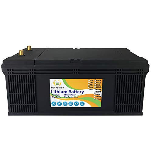 FLYPOWER 36v 100Ah LifePo4 Battery 3000-7000 Deep Cycles with BMS Lithium Iron for RV Campers Solar Marine Energy Reserve Power Supply Emergency Lighting Run in Series or Parallel, black