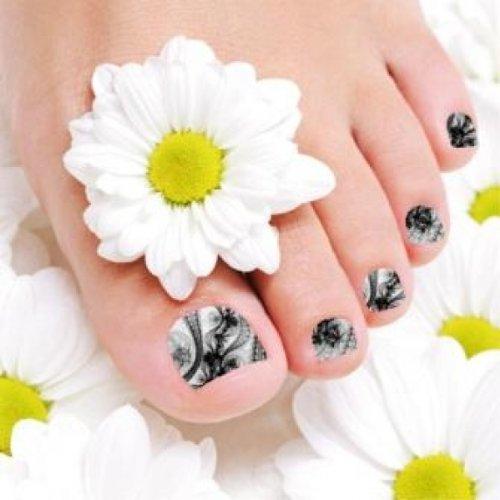 Films à ongles by Glam Stripes – Black Pattern Feet