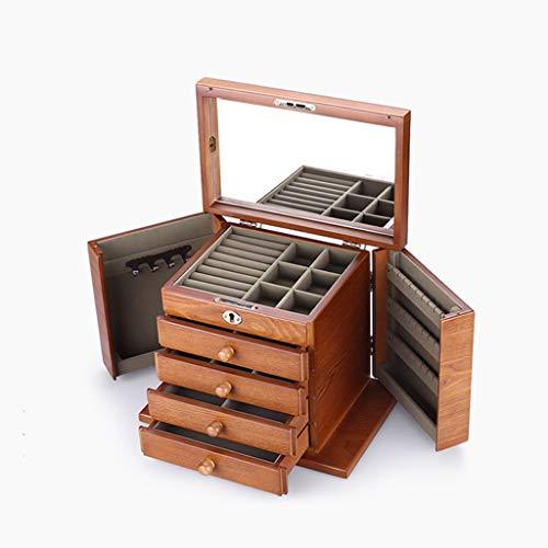 Organizador de Joyas Madera caja de joyas caja Organizador - 3 capas del caso de exhibición de almacenamiento exhibición de la joyería joyería del sostenedor caja con cerradura for la pendiente de la