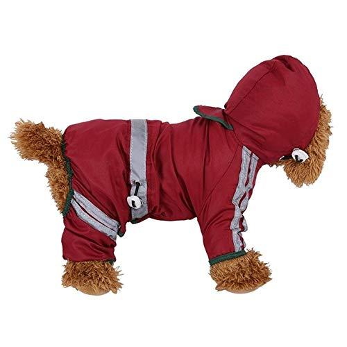 Qiuge Pet Raincoat Wasserdicht Warm Doppelseitige Hundemantel dicken Thick bequemen Winter Hund mit Kapuze Regenmantel, Reflektierende Schutzhunde □□ Jacke, Größe: XS (Gelb) (Color : Red)