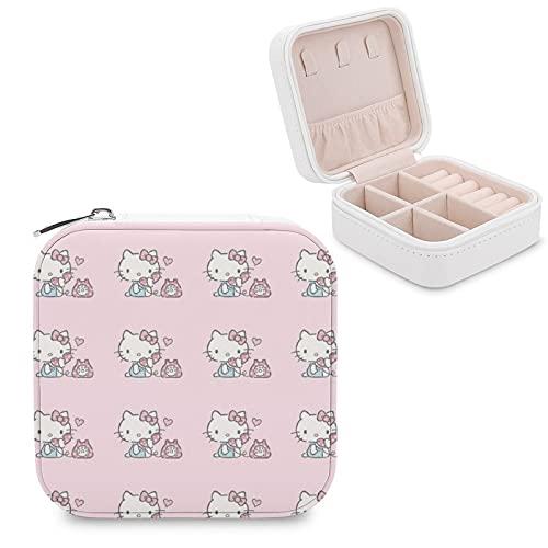 Hello Kitty Joyero de piel sintética para viajes, portátil, para collares, pendientes, pulseras, anillos, relojes, expositores, cajas de joyería para mujeres