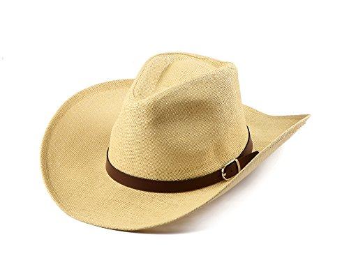 Miuno® Cowboyhut Herren Partyhut Stroh Hut Westernhut H51024 (Beige)