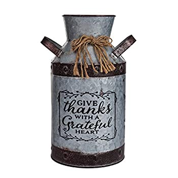 Metal Flower Vase Farmhouse Rustic Old Fashioned Garden Pot Container Galvanized Milk Can Planter Holder for Home Shabby Chic Decor for Living Room Bedroom