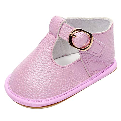 WFRAU Neugeborene Baby Prewalker Kleinkind Baby Einfarbige Schnalle Anti-Rutsch Erste Wanderer Schuhe Mädchen Jungen Weiche Sohle Sandalen Wanderschuhe