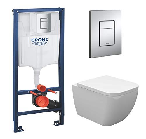 vanvilla Wand Hänge WC Toilette spülrandlos SoftClose-Deckel Tara mit Grohe Vorwandelement SET