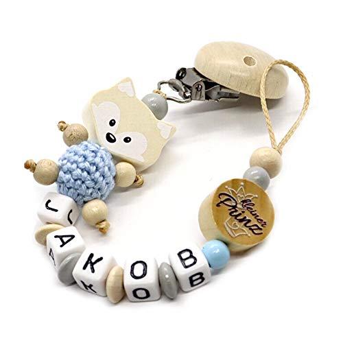 Schnullerkette mit Namen für Junge & Mädchen | VIELE INDIVIDUELLE MODELLE | Personalisierte Nuckelkette mit Wunschnamen (Fuchs, Natur, Kleiner Prinz)