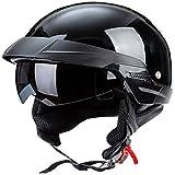 ZHXH Casco de moto adulto, Casco de moto Harley Unisex Evergreen Street Riding en línea con aprobación de punto/color Opcional (57-62cm),