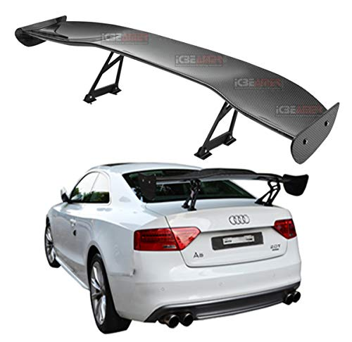 ICBEAMER JDM Racing GT Style with 100% Real Carbon Fiber Adjustable Rear Weatherproof Trunk Deck Spoiler with Accessories Kit (57' Length / 7' Bracket Height)