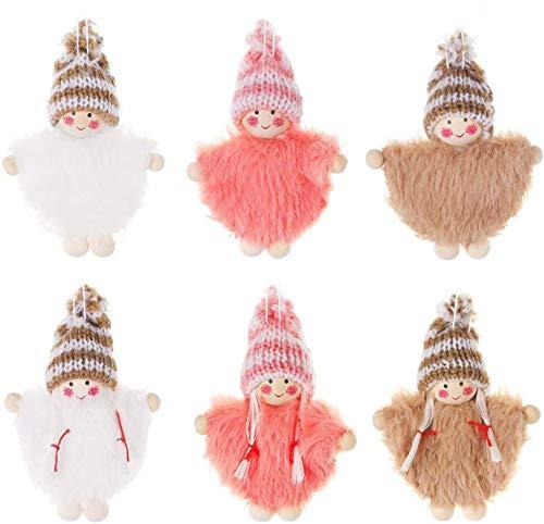 laimoere 6 Cute Plush Angel Dolls Christmas Tree Ornament Pendants Christmas Decorations