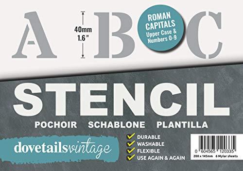 Plantillas Letras Stencil - Plantillas del Alfabeto – 4 cm de altura – Alphabet y Números 0-9, Mayúsculas Roman – en 6 hojas de 200 x 148mm