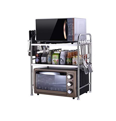 JUNYYANG Flower Stand de 3 niveles Estante de la cocina de microondas horno de carro Tres niveles de horno de acero inoxidable estante de la especia estante de la botella de almacenamiento de cocina e