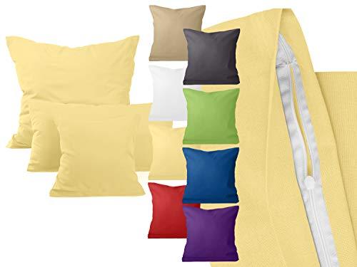 npluseins 4er Pack zum Sparpreis - Baumwoll-Kissenbezüge - Wohndekoration in schlichtem Design - 8 modernen Uni-Farben und 3 Größen, 80 x 80 cm, gelb