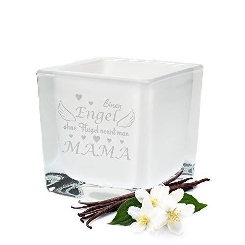 GRAVURZEILE Leonardo Teelicht Engel ohne Flügel nennt man Mama - Geschenke für Mama, Mutter & Mutti - Weihnachtsgeschenke