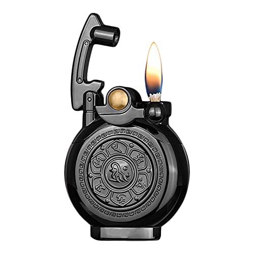 GvvcH Accendino Vintage Accendino per Sigari al Cherosene Riutilizzabile Mini Accendino da Trincea Portatile Antico/Classico Accendino Flip Flame con Elegante Scatola (Senza Gas),Black