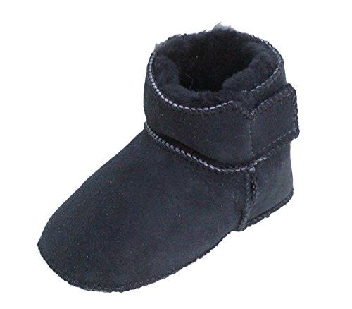 Heitmann Lammfell Schuhe Babyschuhe Hausschuhe mit Klettverschluss Gr. 18 / 19 anthrazit