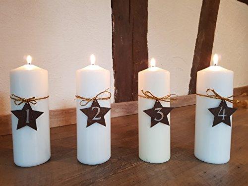 Manufakt-Design Franken Edelrost Adventskranz Zahlen 1-4 in Form eines Sternes - Wunderschöner Rost-Bastel-Artikel für einzigartige Adventskerzen