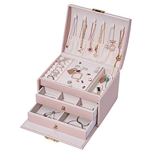 Honeyhouse Joyero organizador para mujeres y niñas, organizador de joyas con 2 cajones, tres capas de piel sintética, caja de almacenamiento con colgadores de collar y compartimento extraíble (rosa)