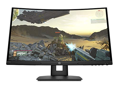HP X24c Curved Monitor Gaming Display (24 Zoll Display, Full HD, 144Hz, AMD FreeSync Premium, HDMI, DisplayPort, Audio-Out, 4ms Reaktionszeit, 1500R Curve, höhenverstellbar) schwarz