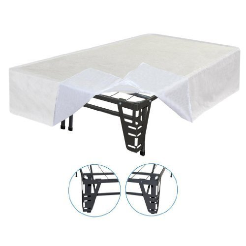 Best Price Mattress New Innovated Box Spring Metal Bed Frame with 4 Brackets + Bed Skirt, Full