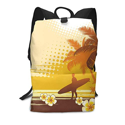 Homebe Rucksäcke,Daypack,Schulrucksack Silhouette of Surfer &Landscape Business Laptop Backpack Durable Wear Resistance Schoolbag 14 * 8 Inch