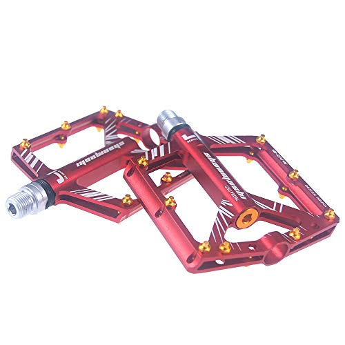 Bike Pedals 4 Sealed Bearing 9/16 MTB Bicycle Pedals with Wide Flat Platform Lightweight Aluminum Alloy Road Cycling Pedal,red