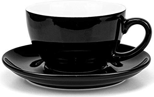 HUIQ Taza y platillo de cerámica para café 300ml / 10oz Negro