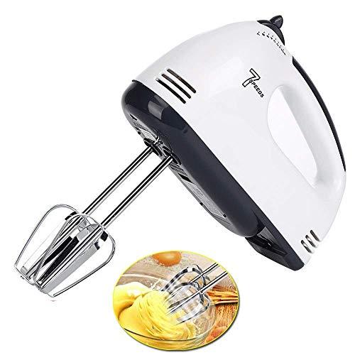 woyaochudan Batidora de Mano eléctrica, batidora de Mano para Pasteles Mini batidora de Crema de Huevo con 7 velocidades 180W para Hornear Alimentos en la Cocina con 2 Ganchos para Masa, 2 batidores