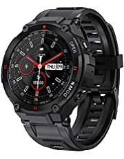 Segorts Smartwatch heren fitness tracker militair design horloge waterdicht met Bluetooth oproep GPS zuurstofverzadiging hartslag slaapmonitor bloeddrukmeter voor mannen Google Fit iOS Android (zwart)