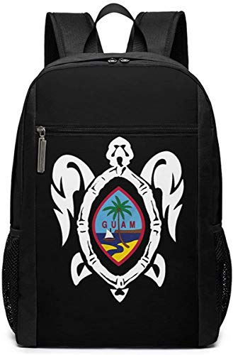Pirate Skull Pattern Travel Laptop Bag Fashion Bookbag Computer Business Backpacks-Guam Flag Turtle
