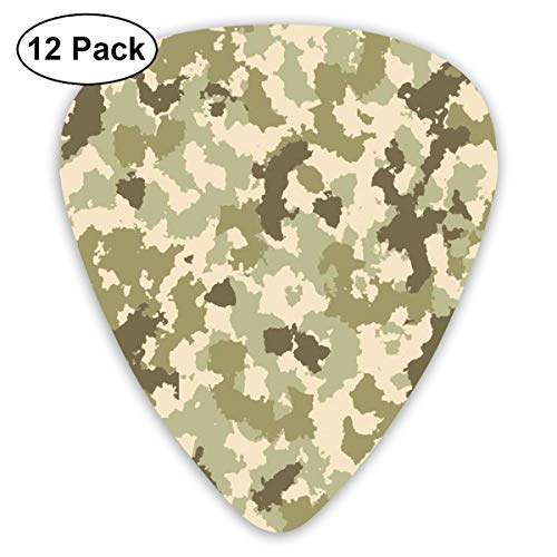 Guitar Picks 12-Pack,Old Fashioned Camouflage Pattern Classical Jungle Survival Theme