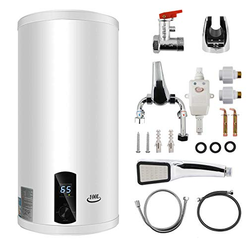 LIVHOOU Termo Agua Caliente Electrico 100 Litros Calentador de Agua Eléctrico Horizontal,Termo...
