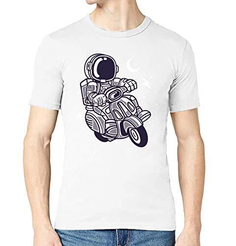 Cartoon stijl Astronaut Scooter nacht Sky mannen bemanning hals T-Shirt