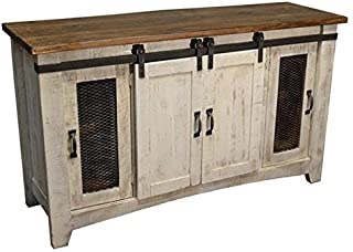Burleson Home Furnishings Anton Distressed White Sliding Barn Door Farmhouse 60 Inch Tv Stand with Brown Wood Top and Hand Forged Custom Handles. Fully Assembled Shabby Chic Console (White, 70)
