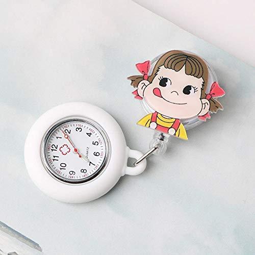 Reloj de Bolsillo médico del Reloj,Linda Mesa de Tratamiento médico de Silicona con Cofre Duradero, el Clip se Puede Dibujar-AA,Reloj de Bolsillo Médico Colgante
